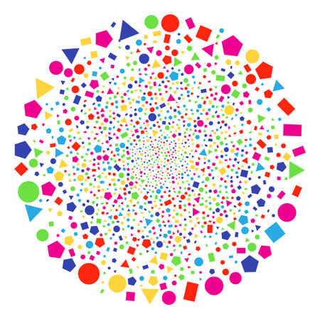 Psychedelic Geometric Figures sparked globula. Vector round cluster fireworks organized with scatter geometric figures elements. Bright Vector illustration.