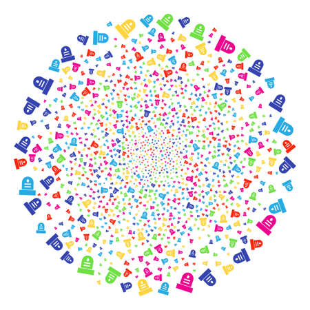 Multi Colored Grave explosion spheric cluster. Vector sphere bang organized from scatter grave symbols. Colorful Vector illustration. 일러스트