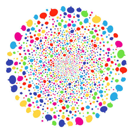 Multicolored Hint carnival sphere. Vector round cluster explosion created from scattered hint objects. Bright Vector illustration.