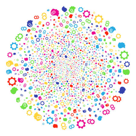 Colorful Intellect Gears fireworks round cluster. Vector sphere salute combined from scattered intellect gears elements. Multi Colored Vector abstraction.