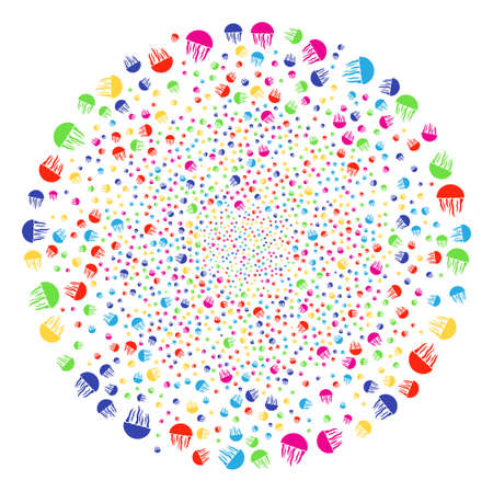 Multi Colored Jellyfish burst round cluster. Vector sphere fireworks combined by random jellyfish elements. Colorful Vector abstraction.