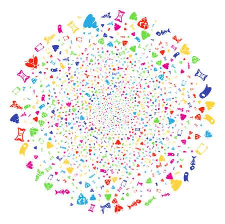 Globula colorato festival spazzatura spazzatura. Saluto sfera vettoriale combinato con oggetti spazzatura spazzatura sparsi. Illustrazione vettoriale brillante.