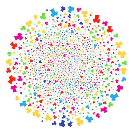 Multicolored Lady T-Shirt sparkler globula. Vector round cluster burst organized from random lady t-shirt elements. Multicolored Vector abstraction. Illustration