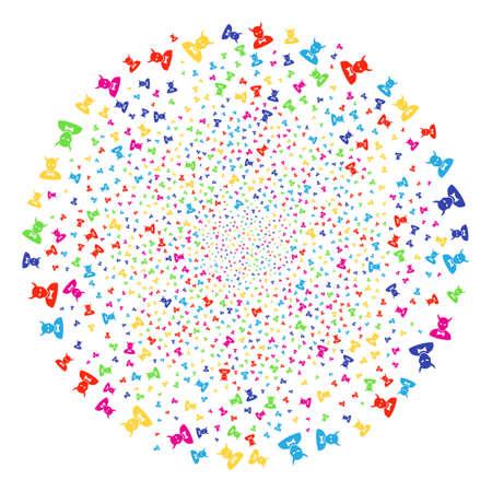 Bright Devil festival spheric cluster. Raster round cluster fireworks created with scatter devil items. Multicolored Raster illustration.