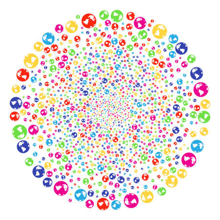 Colorful Earth explosion round cluster. Vector round cluster burst created by scatter earth objects. Multi Colored Vector illustration.