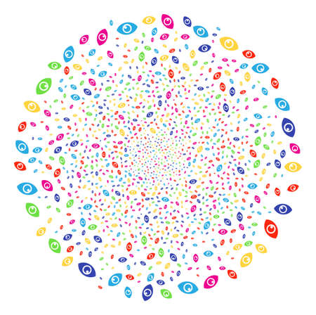 Multicolored Eye bang round cluster. Raster round cluster salute combined with randomized eye symbols. Multicolored Raster illustration.