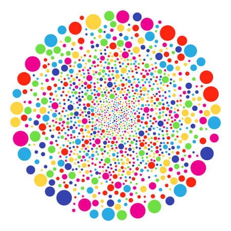 Psychedelic Filled Circle explosion cluster. Raster cluster explosion created by scatter filled circle elements. Multicolored Raster abstraction.