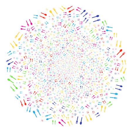 Multi Colored Fork And Spoon carnival round cluster. Raster spheric cluster fireworks combined from randomized fork and spoon symbols. Bright Raster illustration. Stock Photo