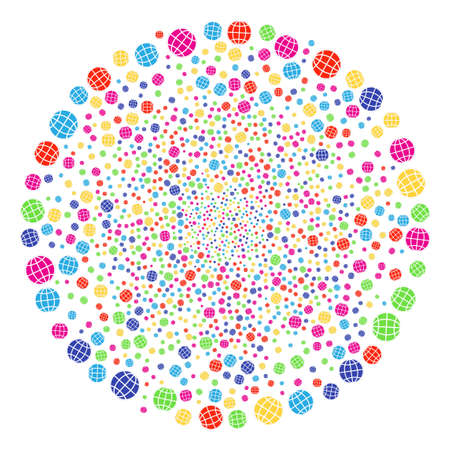 Bright Globe salute round cluster. Raster cluster explosion organized by random globe items. Multicolored Raster illustration. Stock Photo