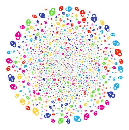 Multicolored Heart Lock festive round cluster. Raster spheric cluster fireworks organized from scatter heart lock symbols. Psychedelic Raster illustration. Stock Photo