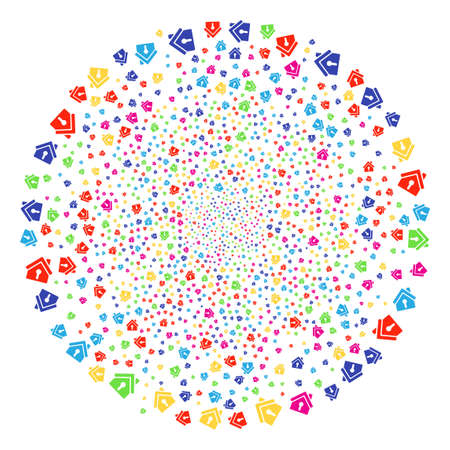Colorful Home Keyhole festive sphere. Raster globula explosion created with scattered home keyhole objects. Bright Raster illustration.