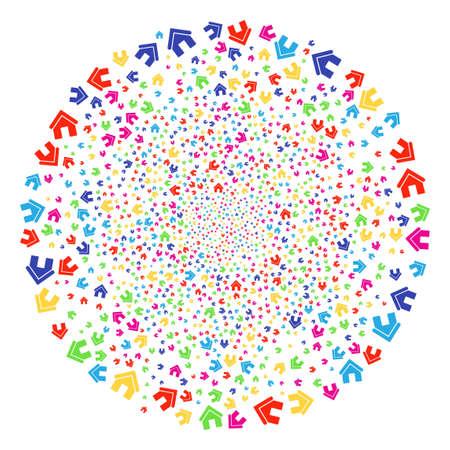 Bright Home fireworks round cluster. Raster globula fireworks designed with scatter home elements. Multicolored Raster illustration.
