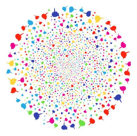 Multicolored Lier exploding globula. Raster spheric cluster burst created with scatter lier items. Multi Colored Raster illustration. 版權商用圖片