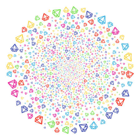 Colorful Diamond salute round cluster. Raster cluster bang organized from scattered diamond items. Bright Raster illustration. Stock Photo