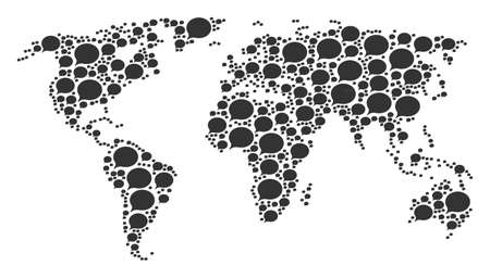 Geographic map pattern constructed of hint elements. Vector hint pictograms are combined into conceptual world illustration.