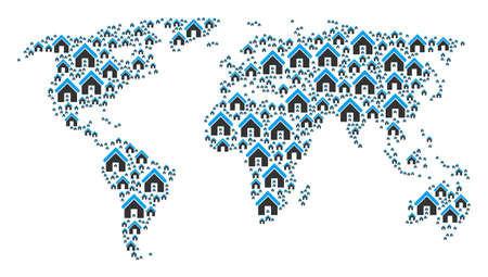 Earth map composition constructed of home pictograms. Vector home elements are composed into mosaic international illustration. 일러스트