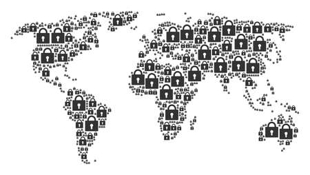 Worldwide map composition combined of lock pictograms. Vector lock design elements are composed into conceptual international collage. Illustration