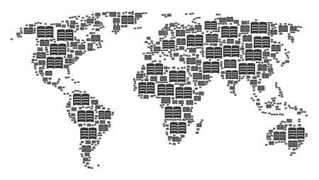 Earth atlas mosaic made of open book design elements. Vector open book design elements are composed into geometric international illustration. Illustration