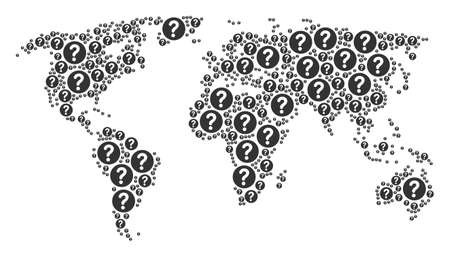 Global world atlas concept done of query pictograms. Vector query icons are composed into conceptual world pattern. Illustration