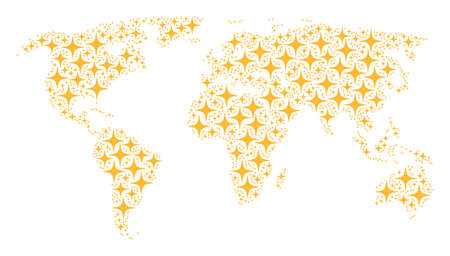 Geographic map concept done of space star icons. Vector space star elements are united into geometric global world plan.