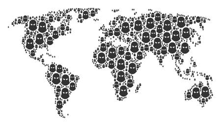 Global geography atlas composition designed of terrorist balaklava pictograms. Vector terrorist balaklava pictograms are organized into mosaic continental pattern. Illustration