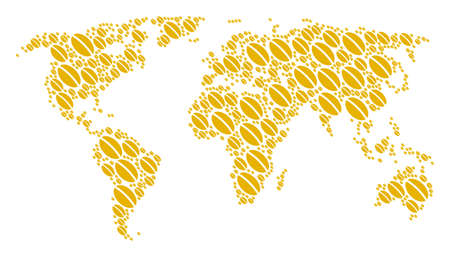 Worldwide atlas pattern combined of wheat seed design elements. Vector wheat seed pictograms are composed into mosaic international map. Illustration