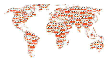 Worldwide atlas concept designed of universal multitool knife icons. Vector universal multitool knife icons are united into mosaic earth plan.