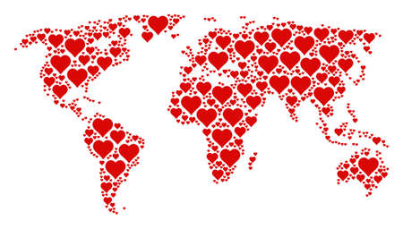 International map collage created of valentine heart design elements. Vector valentine heart elements are united into geometric worldwide atlas.