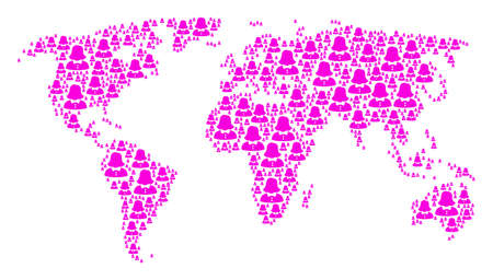 Worldwide map composition constructed of woman design elements. Vector woman icons are composed into conceptual global plan. Illustration