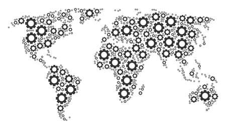 World map pattern made of gear design elements. Raster gear icons are united into mosaic continental illustration.
