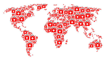 World atlas collage composed of first aid kit pictograms. Raster first aid kit elements are composed into geometric continental pattern.
