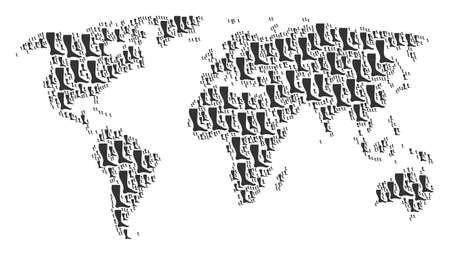 Continent map composition composed of leg elements. Raster leg icons are composed into conceptual global map. Stock Photo
