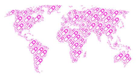 Continental map composition organized of love granule design elements. Raster love granule design elements are united into conceptual international illustration.