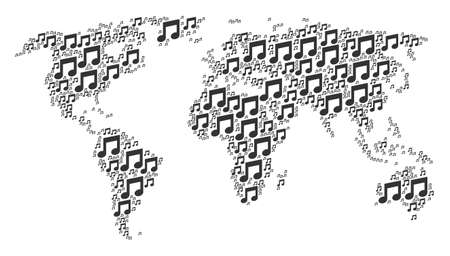 Global world map pattern composed of music notes design elements. Raster music notes items are combined into conceptual international atlas.