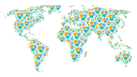 Global geography map concept created of nem elements. Raster nem icons are organized into mosaic global geography map. Stock Photo