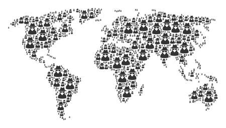 Global world atlas mosaic created of spy pictograms. Raster spy items are combined into geometric continent atlas.