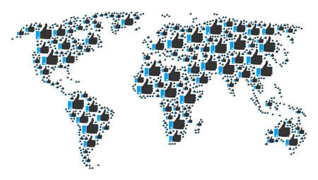 Worldwide map pattern done of thumb up pictograms. Raster thumb up pictograms are composed into mosaic continent collage.