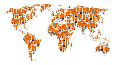 Global atlas concept composed of usb flash drive pictograms. Raster usb flash drive design elements are united into conceptual earth illustration.
