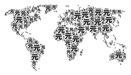 Continent atlas pattern organized of yuan renminbi design elements. Raster yuan renminbi items are organized into geometric global world illustration.