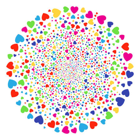 Multicolored Love Heart festival sphere. Vector cluster fireworks designed with randomized love heart objects. Colorful Vector illustration.