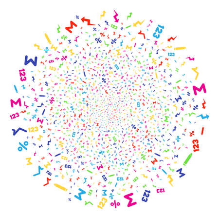 Multi Colored Math Symbols carnival round cluster. Vector spheric cluster burst created with scatter math symbols objects. Colorful Vector illustration.