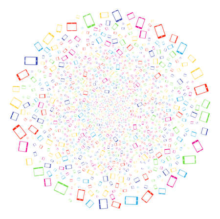 Multicolored Mobile Devices exploding cluster. Vector round cluster bang done from scatter mobile devices items. Colorful Vector abstraction.