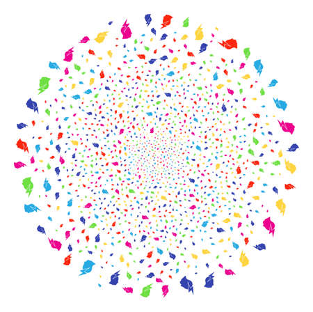 Multicolored Person Stress Strike explosion sphere. Vector cluster fireworks designed with scatter person stress strike elements. Multicolored Vector abstraction.