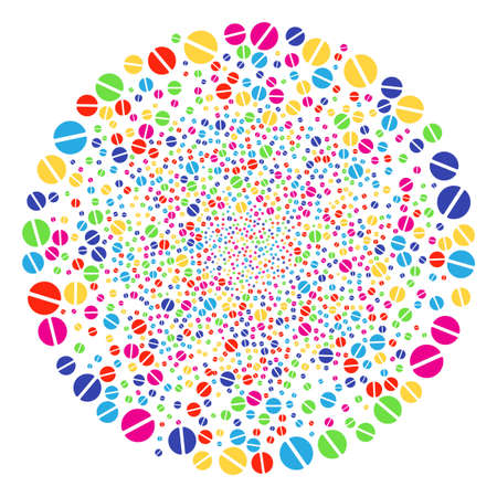 Colorful Pharmacy Tablet salute sphere. Vector round cluster burst done from scattered pharmacy tablet objects. Bright Vector abstraction. Illustration