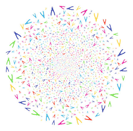 Multicolored Pliers sparked cluster. Vector cluster salute created from scatter pliers objects. Psychedelic Vector illustration.
