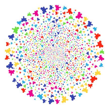 Cluster di esplosione Plugin psichedelici. Scoppio del cluster vettoriale organizzato da elementi di plugin casuali. Illustrazione vettoriale colorato