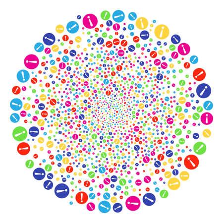 Bright Problem festival round cluster. Vector cluster explosion combined from random problem symbols. Bright Vector illustration.