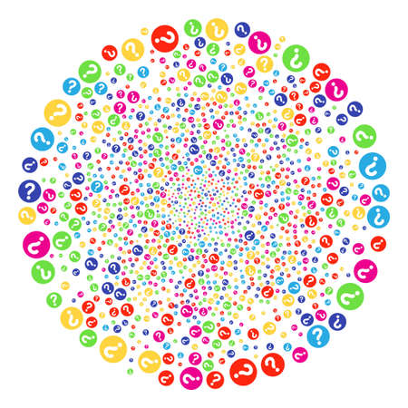 Psychedelic Query burst sphere. Vector cluster fireworks combined with randomized query symbols. Colorful Vector illustration. Illustration