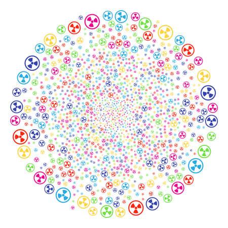 Grappe d'explosion radioactive multicolore. Explosion de sphère vectorielle organisée par symboles radioactifs randomisés. Abstraction vectorielle multicolore.