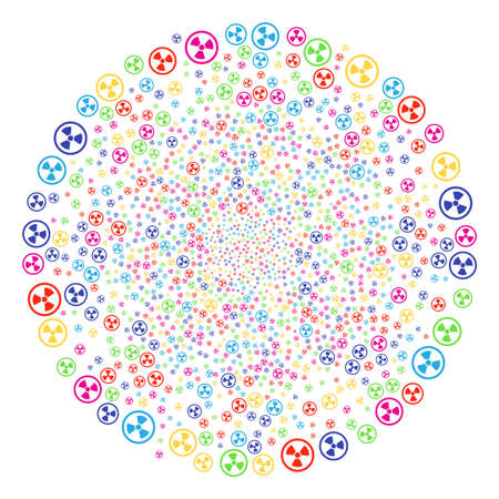 Multi Colored Radioactive explosion cluster. Vector sphere explosion organized by randomized radioactive symbols. Multi Colored Vector abstraction. Illustration